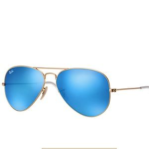 Blue reflective ray ban aviators
